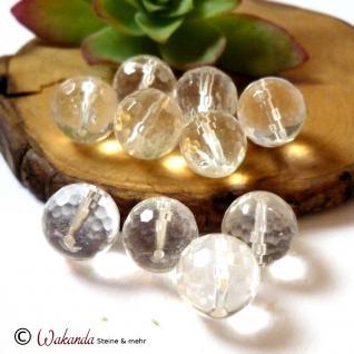 Bergkristall, Kugel gebohrt 12 mm facettiert, Stück - Vorschau 4