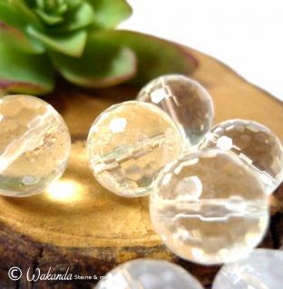 Bergkristall, Kugel gebohrt 12 mm facettiert, Stück - Vorschau 3