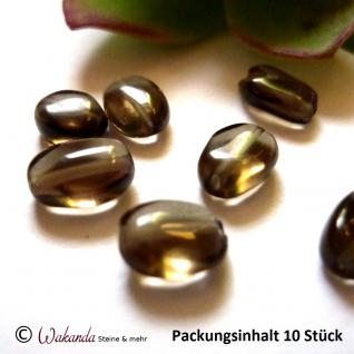 Rauchquarz Linse oval 9 x 7 mm, Pack mit 10 Stück