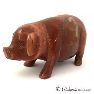 Edelsteingravur Schwein, roter Jaspis