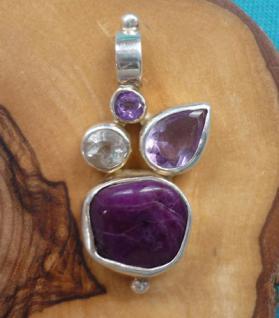 Anhänger Design Silber mit Sugilith, Topas, Amethyst