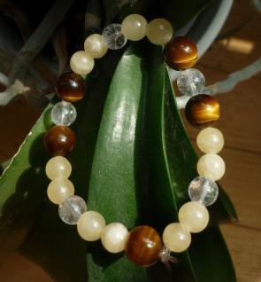 Armband Orangencalcit/Tigerauge/Bergkristall
