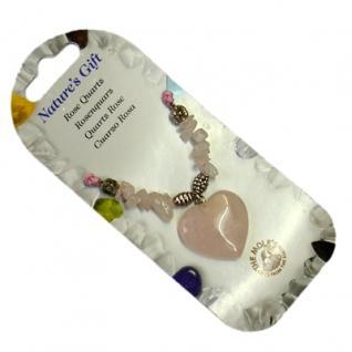 Halskette / Herz-Collier Rosenquarz - Einfühlungsvermögen & Liebe