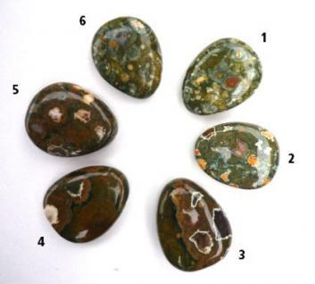 Regenwald-Rhyolith, seitlich gebohrter Trommelstein