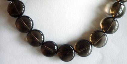 Rauchquarz Button 14 mm, 10er-Set
