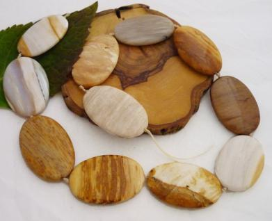 versteinertes Holz oval gebohrt, 40 mm, Strangware einzeln