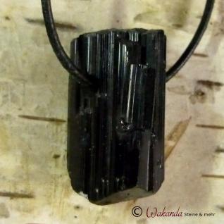 Schörl-Kristall, roh, seitlich gebohrter Anhänger