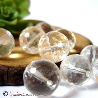 Bergkristall, Kugel gebohrt 12 mm facettiert, Stück - Vorschau 2