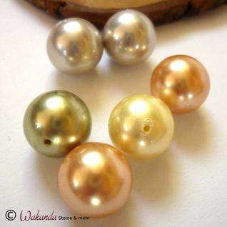 Perle (Muschelkern) 14 mm, gebohrt, 1 Stück - Vorschau 2