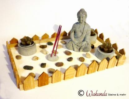 Zen-Garten Bambusholz mit Buddha und Teelichten