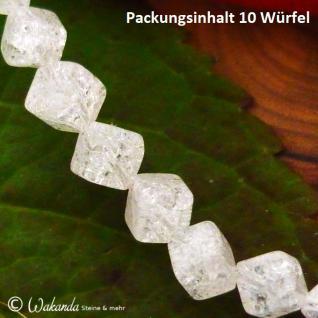 Bergrkistall Würfel crashed 4 mm, diagonal gebohrt, 10er-Pack - Vorschau 2