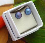 Ohrstecker Süßwasserperle blau-violett 6 mm, Silber