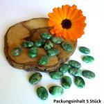 Crazy Lace Achat, grün, flach-oval, 5 Stück