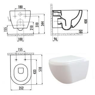 Spülrandlos Hänge Wand Dusch Wc Taharet Bidet Taharat Toilette Creavit FAVORI322 mit flach Düse inkl. Absenkautomatik Wc Sitz - Vorschau 3