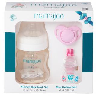 Mamajoo PINK Kleines Geschenk Set 150ml Flasche Schnuller 0+ & Band