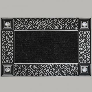 Schmutzfangmatte mit Kieselsteine und Kristall Fußmatte Türmatte CRYSTAL PEBBLES Silver