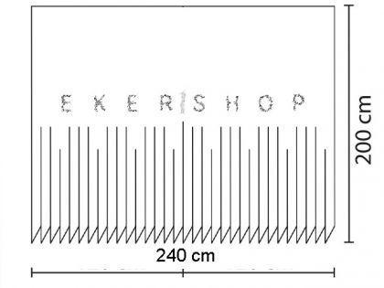 """EDLER Textil Duschvorhang 240 x 200 cm """"Grau mit Schwarz Weiss Kreisen"""" inkl. Ringe - Vorschau 4"""