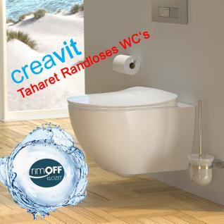 Spülrandlos Hänge Wand Dusch Wc Taharet Bidet Taharat Toilette Creavit FE321 mit flach Düse inkl. Absenkautomatik Wc Sitz