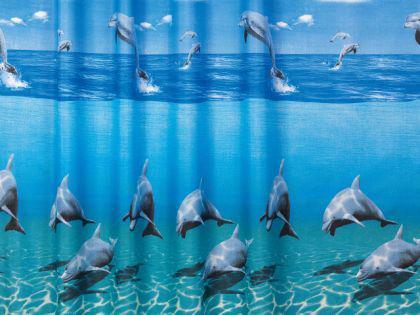 """Textil Duschvorhang 120 x 200cm Delfin """"Delphin im Meer"""" Blau Weiss inkl. Ringe - Vorschau 2"""