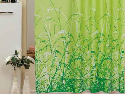 """Textil Duschvorhang 220 x 200cm """"GRÜNER GARTEN"""" Farbe Grün Weiß inkl. Ringe"""