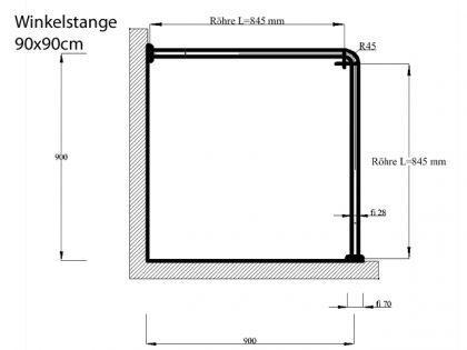 ALU WINKELSTANGE 28 mm EXTRA DICK 90 x 90 cm Chrom Gänzend DUSCHVORHANGSTANGE 90x90 Silber - Vorschau 3