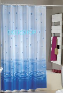 """Textil Duschvorhang 220 x 200cm Blau """"Wassertropfen"""" Blau Weiss inkl. Ringe"""