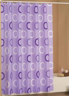 """EDLER Textil Duschvorhang 180 x 200 cm """"Lila mit Kreisen"""" Weiss inkl. Ringe"""