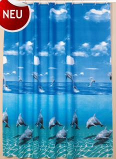 "Textil Duschvorhang 180 x 200cm Delfin ""Delphin im Meer"" Blau Weiss inkl. Ringe"