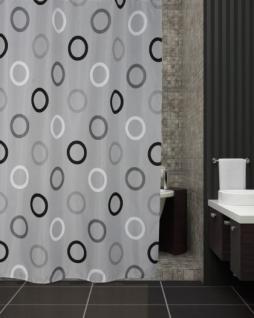 """EDLER Textil Duschvorhang 120 x 200 cm """"Grau mit Schwarz Weiss Kreisen"""" inkl. Ringe"""