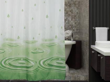 "EDLER Textil Duschvorhang 180 x 200 cm ""Wassertropfen"" Grün Weiss inkl. Ringe"