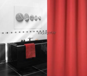 "EDLER Textil Duschvorhang 180 x 200 cm ""Uni Perl Rot"" inkl. Ringe Red Shower Curtain - Vorschau 5"