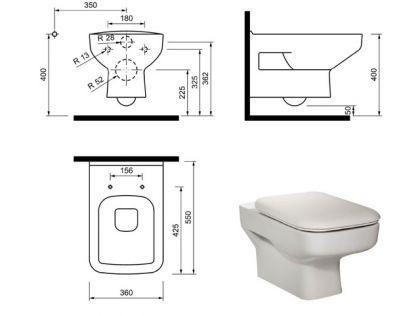 Hänge Wand Dusch Wc Taharet Bidet Taharat Toilette Creavit SP320 mit Düse inkl. Soft-Close Wc Sitz - Vorschau 3