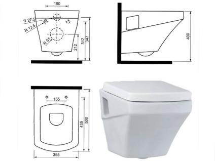 Hänge Wand Dusch Wc Eckig Taharet Bidet Taharat Toilette Creavit SR320 mit flach Düse inkl. Soft-Close Wc Sitz - Vorschau 2