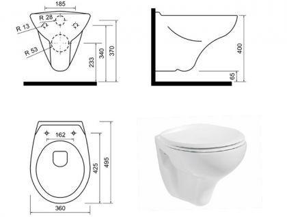 Hänge Wand Dusch Wc Taharet Bidet Taharat Toilette Creavit TP320 mit Düse inkl. Wc Sitz - Vorschau 3