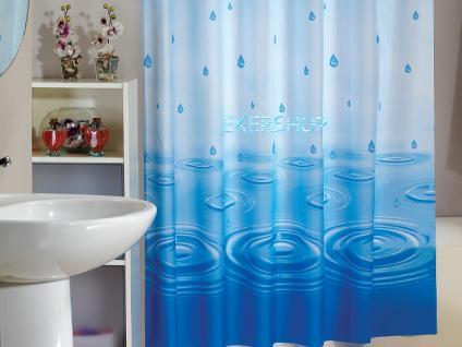 textil duschvorhang 220 x 200cm blau wassertropfen blau weiss inkl ringe kaufen bei ekershop. Black Bedroom Furniture Sets. Home Design Ideas