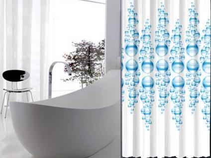 """EDLER Textil Duschvorhang 240 x 200 cm """"WASSERBLASEN"""" Farbe Blau Weiss inkl. Ringe"""