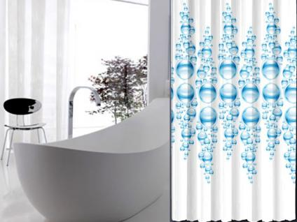 """Textil Duschvorhang 220 x 200cm """"WASSER BLASEN"""" Farbe Blau Weiss inkl. Ringe"""