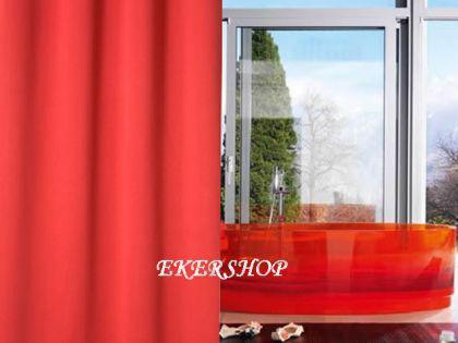 """EDLER Textil Duschvorhang 240 x 200 cm """"Uni Perl Rot"""" inkl. Ringe Red Shower Curtain"""