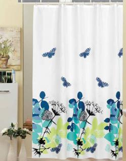 "Textil Duschvorhang 220 x 200cm Blau ""ELEGANTE NATUR"" Grün Türkis Blau Weiss inkl. Ringe"
