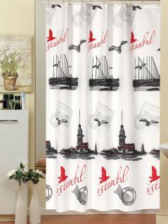 "Textil Duschvorhang 120x200cm ""Istanbul Kiz Kulesi"" Bosborus Schwarz Weiss Rot + Ringe"