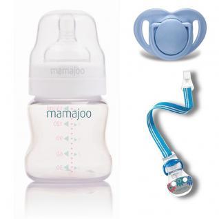 Mamajoo BLAU Kleines Geschenk Set 150ml Flasche Schnuller 0+ & Band - Vorschau 2