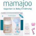 Mamajoo BLAU Kleines Geschenk Set 150ml Flasche Schnuller 0+ & Band