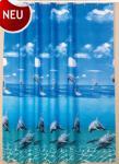 "Textil Duschvorhang 220 x 200cm Delfin ""Delphin im Meer"" Blau Weiss inkl. Ringe"