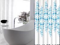 """EDLER Textil Duschvorhang 180 x 200 cm """"WASSERBLASEN"""" Farbe Blau Weiss inkl. Ringe"""