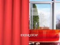"""EDLER Textil Duschvorhang 180 x 200 cm """"Uni Perl Rot"""" inkl. Ringe Red Shower Curtain"""