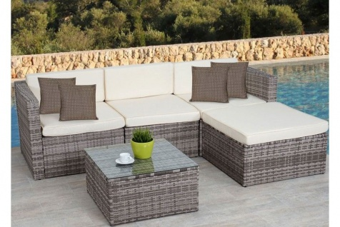 Polyrattan Loungegruppe Lounge Polyrattan Outdoor Sofa Couch Sitzgruppe grau