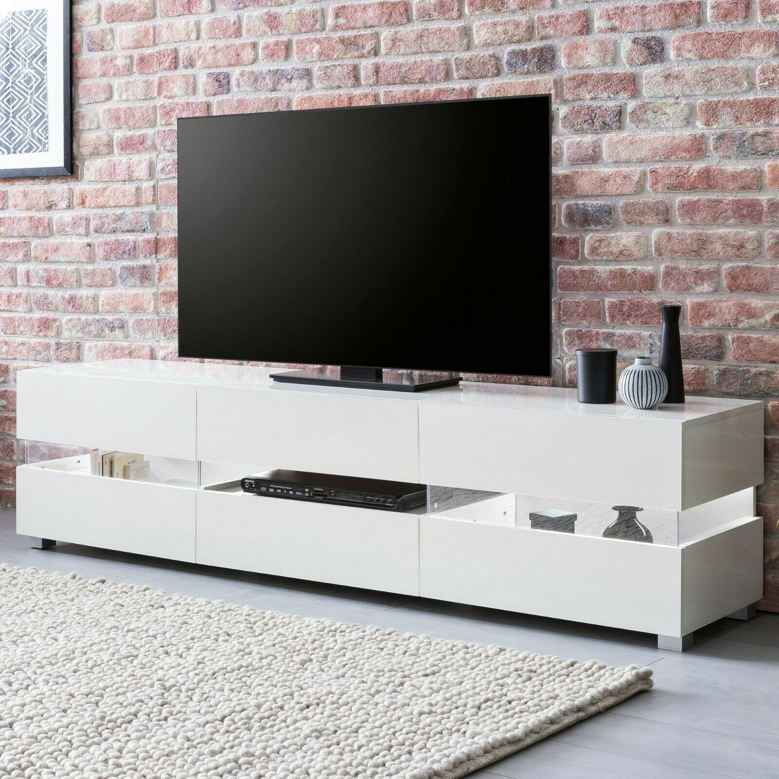 weiss hochglanz tv lowboard regal fernsehregal tv m bel. Black Bedroom Furniture Sets. Home Design Ideas