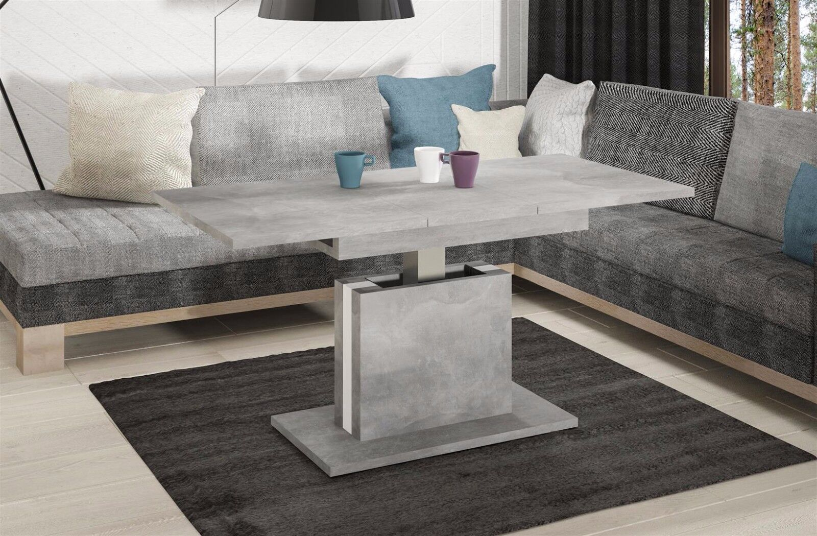 couchtisch ausziehbar h henverstellbar beton tisch funktionstisch wohnzimmer kaufen bei madera. Black Bedroom Furniture Sets. Home Design Ideas