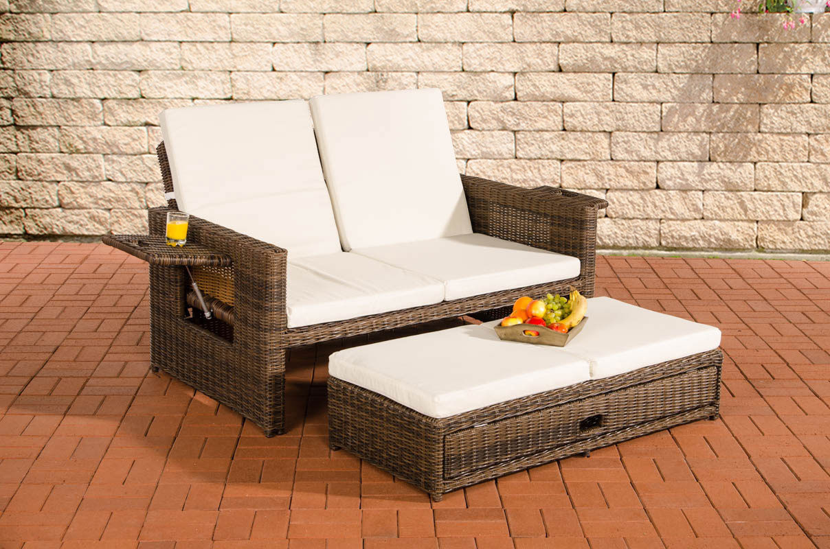 gartensofa verstellbar polyrattan braun garten. Black Bedroom Furniture Sets. Home Design Ideas