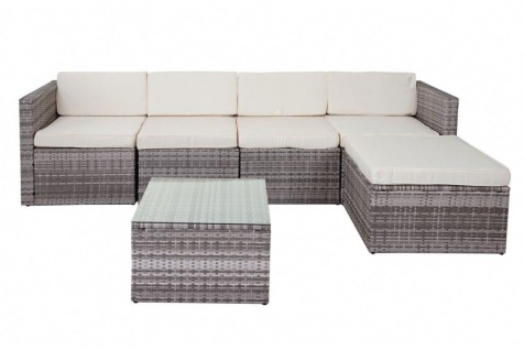 Polyrattan Loungegruppe Lounge Polyrattan Outdoor Sofa Couch grau Sitzgruppe